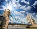 Wonderful structure of tower bridge at sunset view from south e eastern side thames Stock Photography