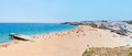 Wonderful summer panorama of sea and beach in albufeira portugal the Royalty Free Stock Images