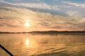 Wonderful sunset over Balaton Lake