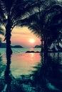 Wonderful sunset on the tropical coast nature Stock Photo