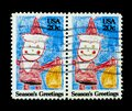 Wonderful USA postage stamps Royalty Free Stock Photo