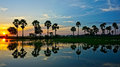 Wonderful vietnam rural sunrise landscape of asia impression silhouette of palm tree reflect on water sun at horizon beautiful Royalty Free Stock Photos