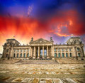 Wonderful view of berlin reichstag from republic square german germany Royalty Free Stock Photos