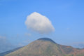 Wonderful view of big cloud over top of mountain. Royalty Free Stock Photo
