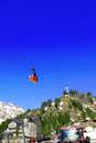Wonderful view of the cableway in the mountains. Royalty Free Stock Photos