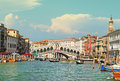 Wonderful view of gondolas and bridges in love on the Grand Canal in Venice, Italy, Europe Royalty Free Stock Photo