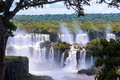 Wonderful view of iguassu falls waterfall in brazil is the largest series waterfalls on the planet located argentina and paraguay Stock Photos