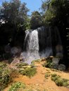 Wonderful waterfalls inside cuban mountains at a place known as el nicho Royalty Free Stock Image