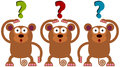 Wondering monkeys a funny illustration of three Royalty Free Stock Images