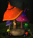 Wonderland series mushrooms place fantasy with and rock Stock Photos