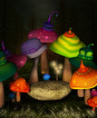 Wonderland series wonderland place fantasy background with colorful mushrooms and rock Stock Photography