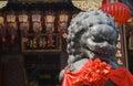 Wong tai sin temple in hong kong closeup of lion statue at Stock Photography