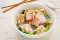Wonton soup with roasted red pork, Chinese food Royalty Free Stock Photo
