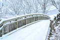 Woo bridge with background snow on winter Royalty Free Stock Photo