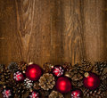 Wood background with Christmas ornaments Royalty Free Stock Photo