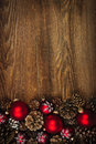 Wood background with Christmas ornaments Stock Photography