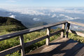 wood balcony with mountain view in morning Royalty Free Stock Photo