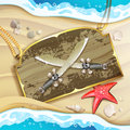 Wood banner with pirate sword over sand beach Stock Photos