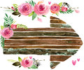 Wood Banners with rose flower. Rose flower watercolor. Wedding decorative element. Wood panel set. Royalty Free Stock Photo