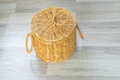 Wood basket hand made yellow Stock Photo