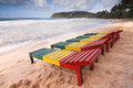 Wood beach loungers in the mirissa Stock Image