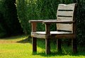 Wood bench in garden Royalty Free Stock Images