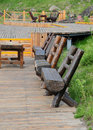 The wood bench on pavement board Royalty Free Stock Photography