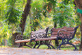 Wood benches with cast iron frame in park bangkok Royalty Free Stock Image