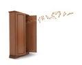 Wood big open cupboard with flying hangers;