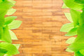Wood block wall texture green leaves on Stock Photo