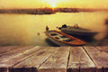 Wood boards in front of sea landscape and fishing boats Royalty Free Stock Photo