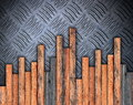Wood boards montage on metal surface floor weathered Stock Photos