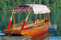 Wood Boat at Bled Lake Stock Photo