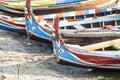 Wood boat Myanmar style at Ubein bridge.