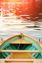 Wood Bow Deck of Wooden Boat. Sea sunset, sun glow. Royalty Free Stock Photo