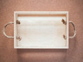 Wood box with rope handles top view of Stock Image