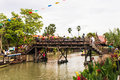 Wood bridge ayothaya floating market Stock Images