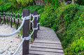 Wood bridge beside the beach thailand Royalty Free Stock Photo