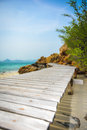 Wood bridge beach in thailand Royalty Free Stock Photo
