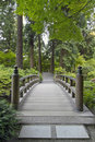 Wood Bridge at Japanese Garden Royalty Free Stock Photo