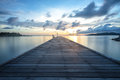 Wood bridge lead to the sun wooden Stock Photography