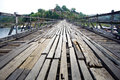 Wood bridge long in thailand Royalty Free Stock Image