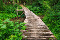 Wood bridge wooden in park erawan kanchanaburi thailand Royalty Free Stock Photos