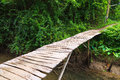 Wood bridge wooden in park erawan kanchanaburi thailand Royalty Free Stock Images