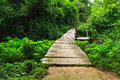 Wood bridge wooden in park erawan kanchanaburi thailand Royalty Free Stock Image