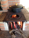 Wood burning stove and iron pans typical of the brazilian lifestyle in countryside Stock Photo