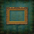 Wood carved baroque frame on Victorian wall Stock Images
