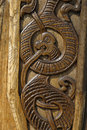 Wood carved dragon. Stock Photo