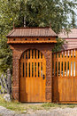 Wood carved gate Royalty Free Stock Photo