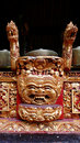Wood carving on balinese music ensemble Royalty Free Stock Images